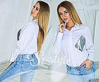 Рубашка женская белая карман пайетка
