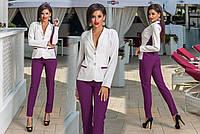 Женский костюм-двойка, пиджак двухцветный+брюки однотонные, разные расцветки, норма