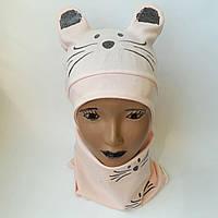 Детская трикотажная шапка  с хамутом  3-5лет оптом