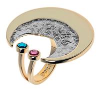 """Кольцо """"Код"""" с кристаллами Swarovski, покрытое золотом с родием (j527q070) (""""+"""" """"- """" 1 размер)"""