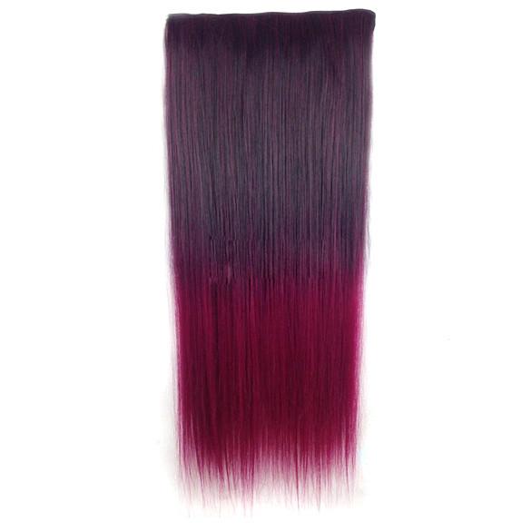 Чудо-прядь накладная на клипсах из искусственных волос оттенок каштановый-вишневый