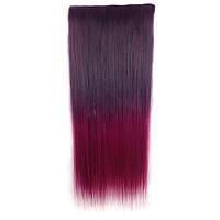 Чудо-прядь накладная на клипсах из искусственных волос оттенок каштановый-вишневый, фото 1
