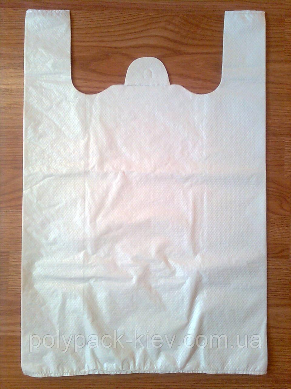 Белые пакеты-майка 38х57 см/35 мкм без логотипа, полиэтиленовый пакет белый без печати купить со склада