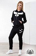 """Женский спортивный костюм черного цвета на флисе """"LA STORY"""". Ткань: трехнить. Размер: 42, 44, 46."""