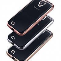 Прозрачный силиконовый чехол с глянцевым ободком для Samsung i9300 Galaxy S3 розовый