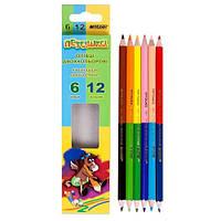 """Карандаши цветные """"Пегашка"""", двухсторонние, 6 карандашей, 12 цветов, Marco, 1011-6СВ, 245286"""