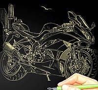 Гравюра А4 LUXE с рамкой 'Мотоцикл' (Золото) (L-ГР А4-03з)