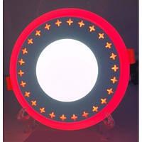 LED панель Lemanso LM535 Звезды круг 3+3W красная подсветка 350Lm 4500K, фото 1