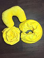 Набор 3в1 махра Желтый (плед, подушка, чехол на кушетку)