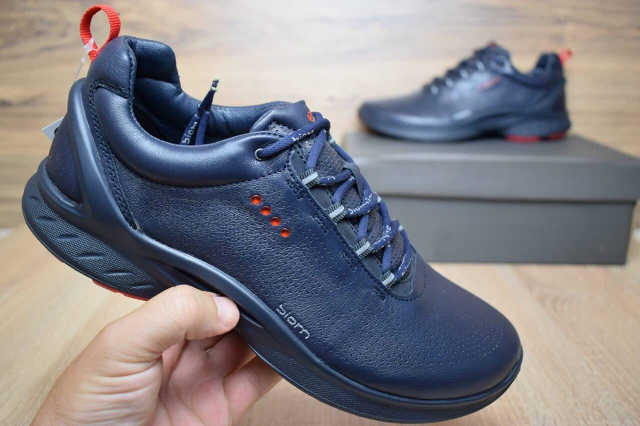 Подростковые+мужские кроссовки ECCO BIOM FJUEL кожа синие с красным реплика  + живые фото 400fcb09f0db7