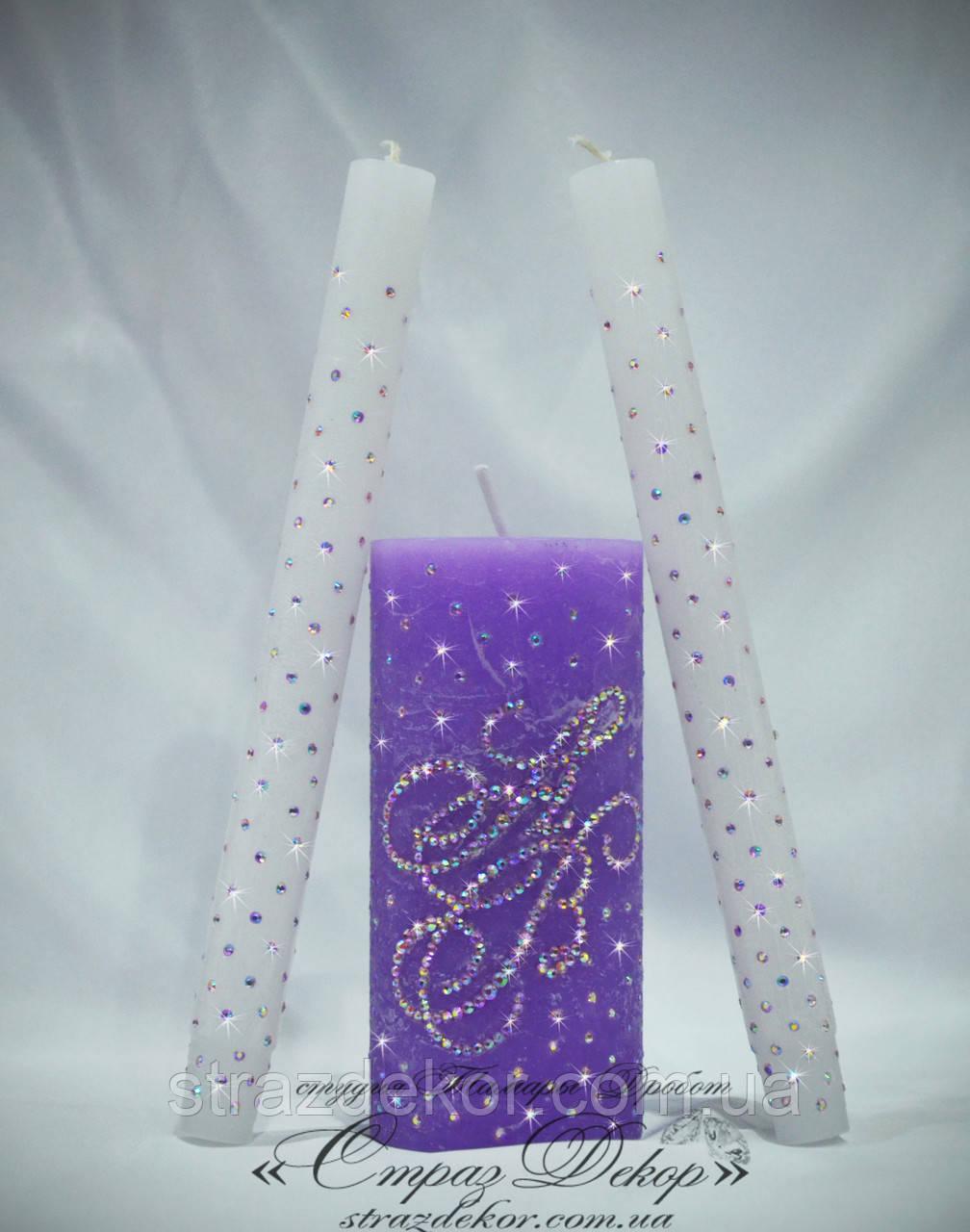 Набор свадебных свечей цветных с инициалами в цветных стразах