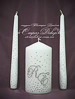 Набор свадебных свечей с инициалами в стразах