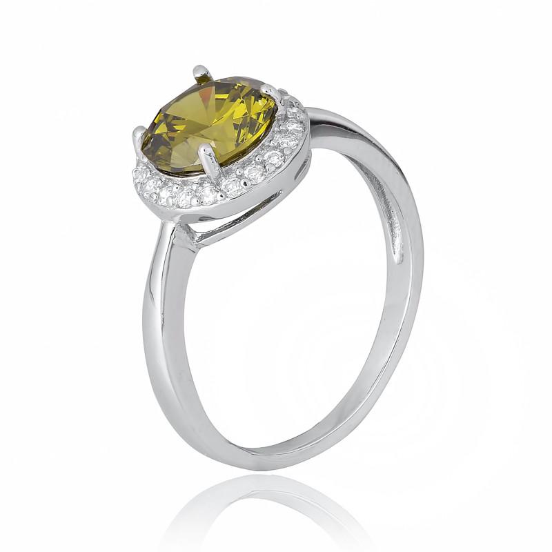 """Серебряное кольцо с имитацией хризолита """"408"""""""