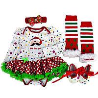 """Бодик девочке,новогодний,нарядный,младенцу, """"Санта"""" белый в горох костюм бодик,гетры,пинетки,повязка"""