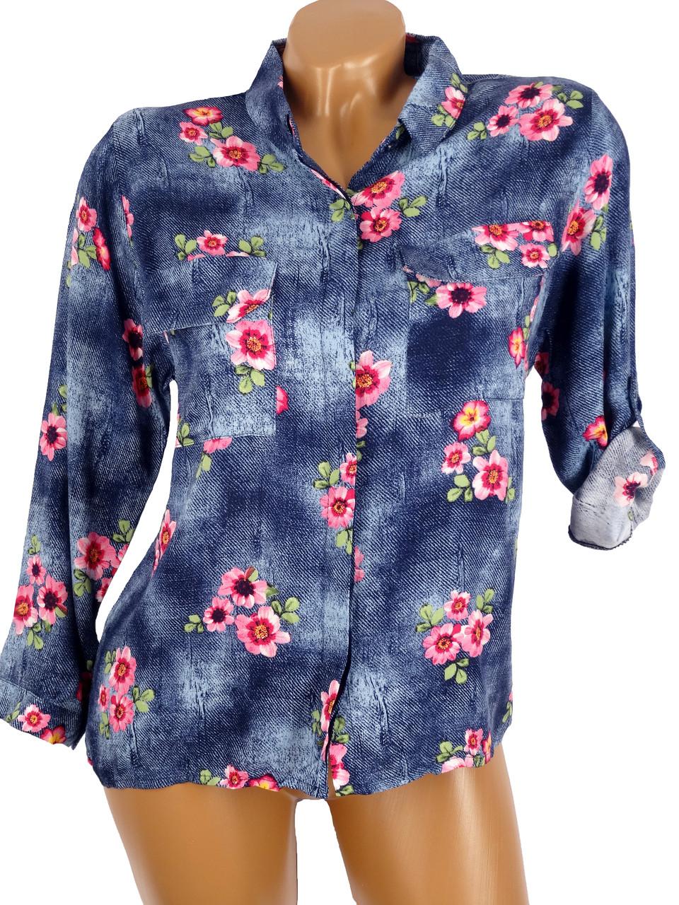 Свободная рубашка с цветочным принтом (в расцветках 38, 44)