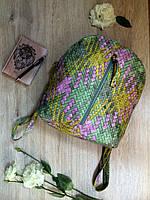 Молодежный женский мини-рюкзак из эко-кожи под плетение