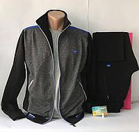 Спортивный костюм мужской трикотажный Линке серый меланж/черный  размер 54
