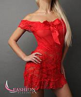 Модный кружевной пеньюар красного цвета
