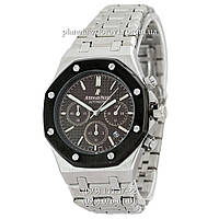Мужские кварцевые наручные часы Audemars Piguet Royal Oak Chronograph Steel Silver-Black