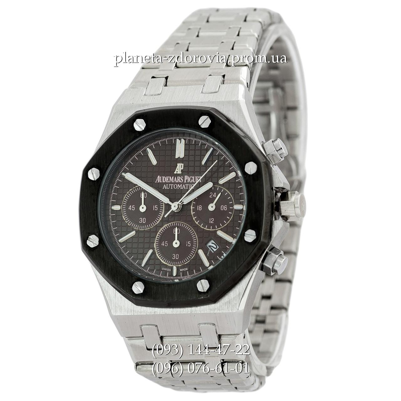 492be0dff266 Мужские кварцевые наручные часы Audemars Piguet Royal Oak Chronograph Steel  Silver-Black - Планета здоровья
