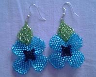 """Сережки з бісеру""""Синя квітка"""""""