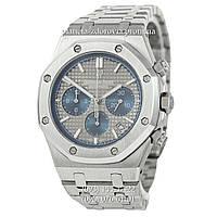 Мужские кварцевые наручные часыvAudemars Piguet Royal Oak Chronograph Steel Silver-Gray-Blue