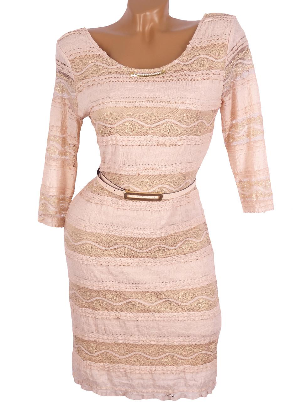 Нарядное платье с золотистым гипюром (48р)