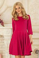 Платье  с рельефами малинового цвета