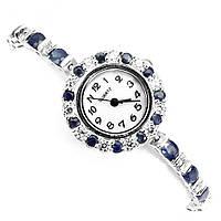 Серебряные часы с натуральными сапфирами .