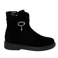 Ботинки замшевые женские на каблуке 1 см