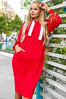 Женское свободное платье в спортивном стиле. Ткань: двунитка. Размер: оверсайз. Цвет: бутылка, красный.