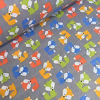Польская ткань с разноцветными лисичками на сером фоне , фото 1