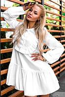 Женское свободное платье с рюшами в трех цветах. Ткань: поплин. Размер: оверсайз.