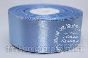 Атласная лента с серебряным люрексом, 4 см, голубая