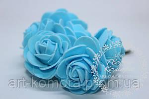 """Роза из фома""""капуста"""" голубая, 4 см, 6 цветков в наборе"""