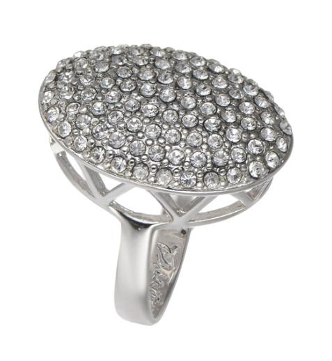"""Кольцо """"Гросс"""" с кристаллами Swarovski, покрытое родием (r633f000)"""