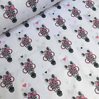 Ткань хлопковая с зебрами в розовых очках , фото 1