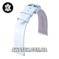 Ремешок кожаный Catfskin для наручных часов с классической застежкой, белый, 12 мм