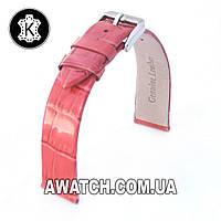 Ремешок кожаный Catfskin для наручных часов с классической застежкой, коралловый, 12 мм