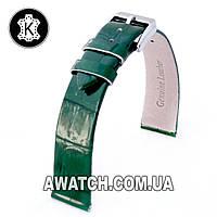 Ремешок кожаный Catfskin для наручных часов с классической застежкой, зеленый, 12 мм