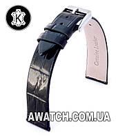Ремешок кожаный Catfskin для наручных часов с классической застежкой, черный, 12 мм