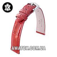 Ремешок кожаный Catfskin для наручных часов с классической застежкой, красный, 22 мм