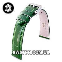 Ремешок кожаный Catfskin для наручных часов с классической застежкой, зеленый, 16 мм
