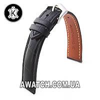 Ремешок кожаный Catfskin для наручных часов с классической застежкой, черный, 24 мм