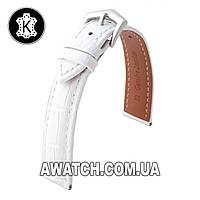 Ремешок кожаный Catfskin для наручных часов с классической застежкой, белый, 16 мм