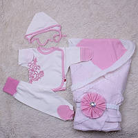 Летний комплект на выписку из роддома для девочки, Турин, розовый