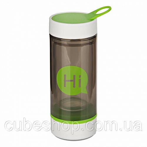 Бутылка для воды Hi со стеклянной колбой и отсеком для таблеток (зеленая)