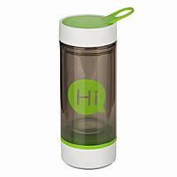 Бутылка для воды Hi со стеклянной колбой и отсеком для таблеток (зеленая), фото 1