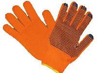 Перчатка рабочая х/б пвх повышенной плотности (оранжевая) оптом