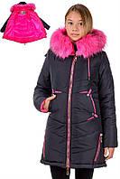Модная удлиненная куртка зимняя на девочку размеры 38- 44 Синий малина